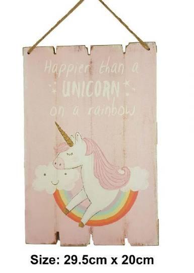 Happier Than a Unicorn MDF Plaque