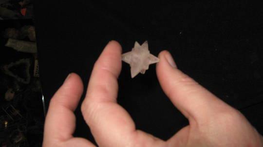 Carved 11 point Rose Quartz Star Merkaba