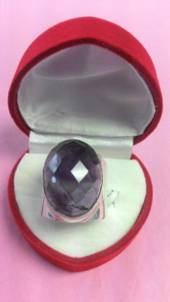 Large Amethyst with Wide Band Ring