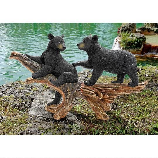 Mischievous Black Bear Cubs Statue