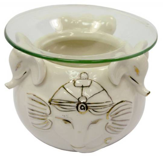 Oil Burner White Elephant with Glass Dish