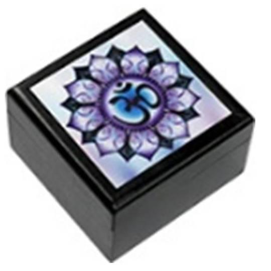 Om Purple 5.5cm Wooden Box