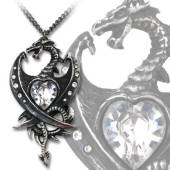 Diamond Heart Dragon Necklace