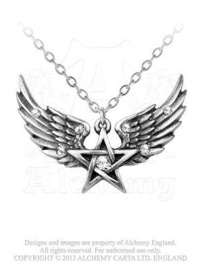 O Fortuna Winged Pentagram Pendant and Chain