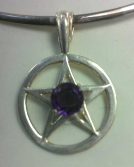 Pentagram with Amethyst Centre Pendant