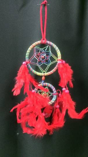 Small Rainbow Dreamcatcher with Red Feathers