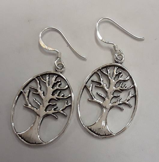 Sterling Silver Oval Tree of Life Earrings
