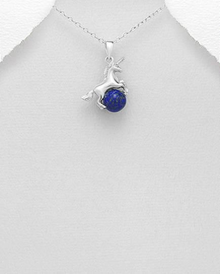 Sterling Silver Unicorn-Pegasus Pendant Decorated With Lapis Lazuli