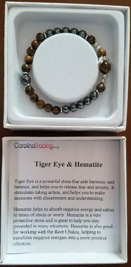 Tigers Eye and Hematite Angel Bracelet