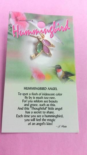 Hummingbird Angel Pin