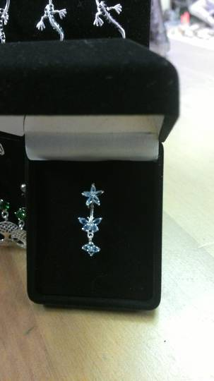 Light Blue Butterfly Spinal Navel Bar