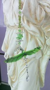Fancy Green Dragonfly with Peridot Crystals Suncatcher