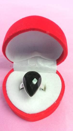 Teardrop Faceated Onyx Ring