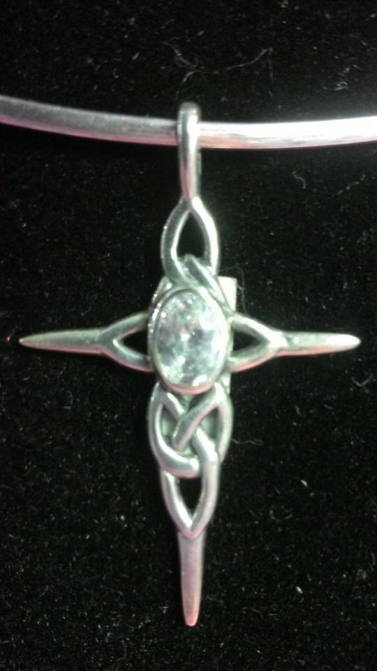Silver Cross with Quartz Crystal Pendant