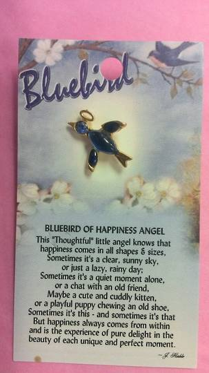 Bluebird of Happiness Angel Brooch