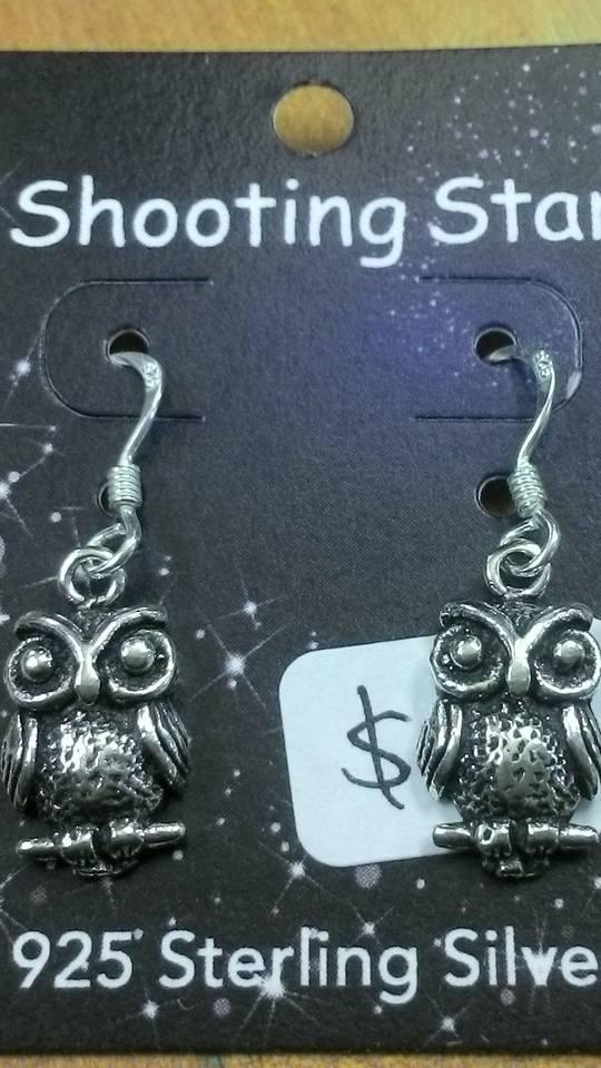 Silver Owl Hook Earrings