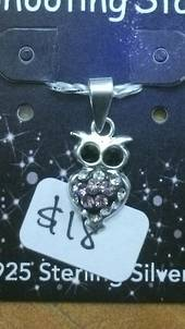 Crystal Evolution Purple Owl Pendant