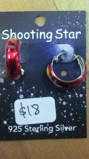 Red Sleeper Earrings with Flowers