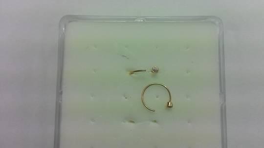 14kt Gold Bezel set Jeweled Open Hoop Nose Ring