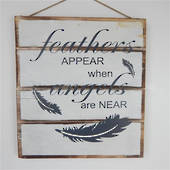 "WOODEN SIGN ""FEATHER & ANGELS"" WHITE"
