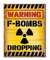 Warning F-Bombs Retro Tin Sign