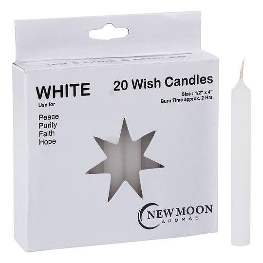 Wish Candle 1.25cm x 10cm (20 Pack) White