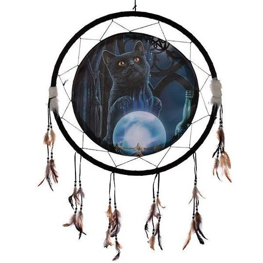 Extra Large Witches Apprentice Cat Dreamcatcher by Lisa Parker