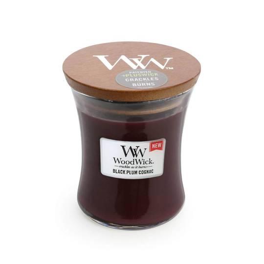 Woodwick Candle Black Plum Cognac Medium