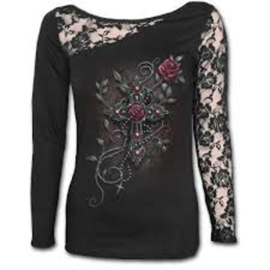 ANGEL BEADS - Lace One Shoulder Top Black XL was $65 now $35