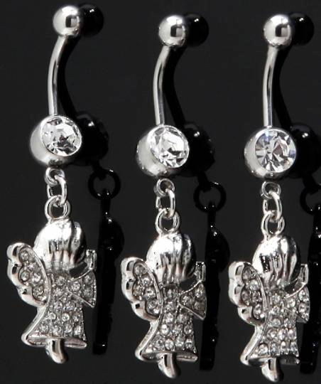 Angel Clear Crystal Belly Bar