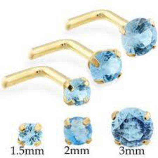 14Kt Gold Aqua Blue CZ L Shaped Nose Stud 2.5mm
