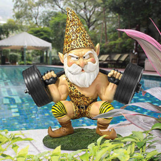 """Atlas, the Athletic"""" Weightlifting Gnome Statue"""