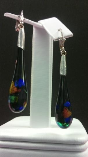 Handmade Black Multicoloured Fancy Glass Earrings