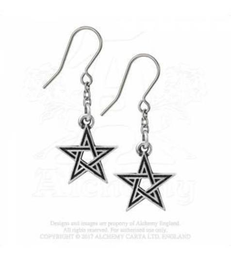 Black Star Pentagram Drop Earrings