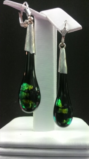 Handmade Black with Blue Green Patches Fancy Glass Earrings
