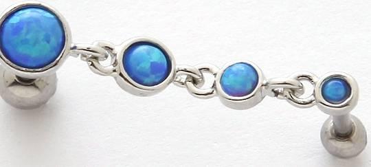 Blue Opal Outer  Cartilage Piercing 16G