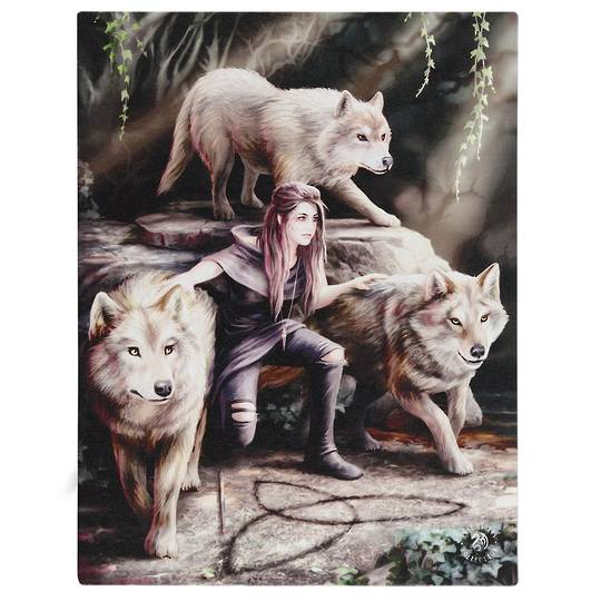 Small Power of Three Wolf Canvas by Anne Stokes