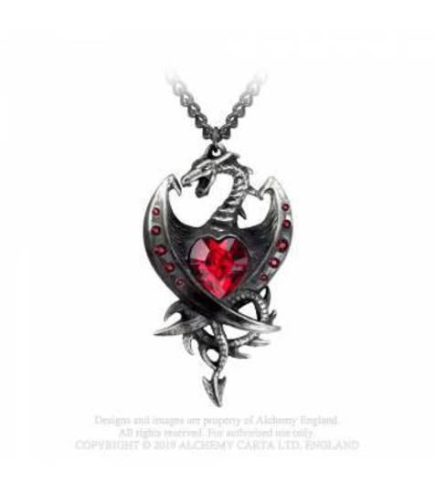 Red Diamond Heart Dragon Pendant and Chain