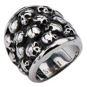 Stainless Steel Polish Finished Ring with Multi Skulls.