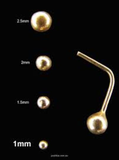 Tiny 14Kt Gold Ball L Shape Nose Stud