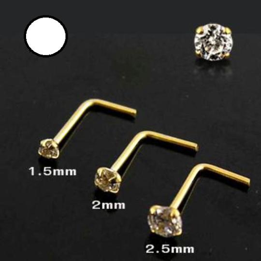 14 kt Gold L Shaped Nose Stud 2mm CZ