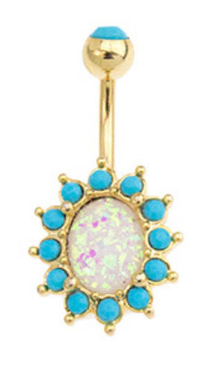 Opal Essence Gold and Imitation Turquoise Navel Bar