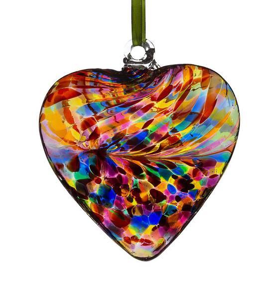 Multicoloured Art Glass Friendship Heart 12cms