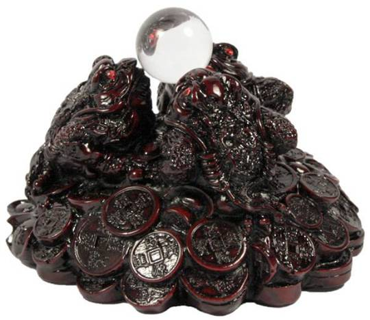 Feng Shui 3 Money Frogs Crystal Ball Holder