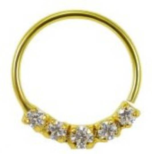 Pretty Gold Plated Multi Jewelled Nose Ring 8mm
