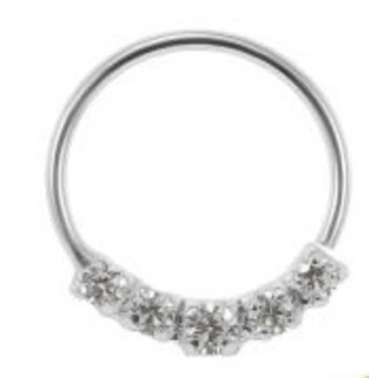 Pretty Sterling Silver Multi Jewelled Nose Ring 8mm