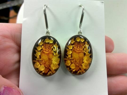 Carved Amber Owl Earrings