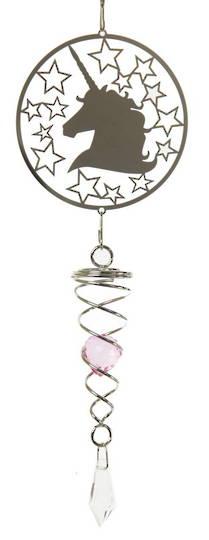 Unicorn Pink Crystal Wind Spinner