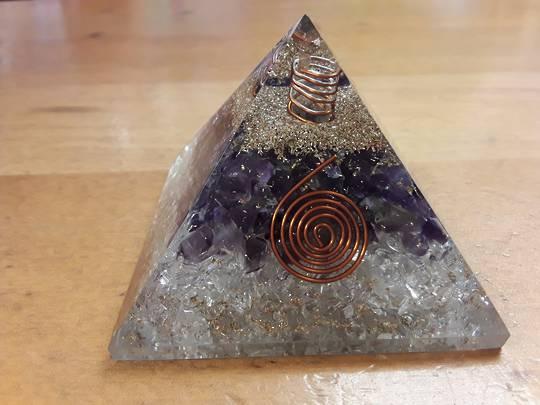 Amethyst and Quartz Orgonite Pyramid