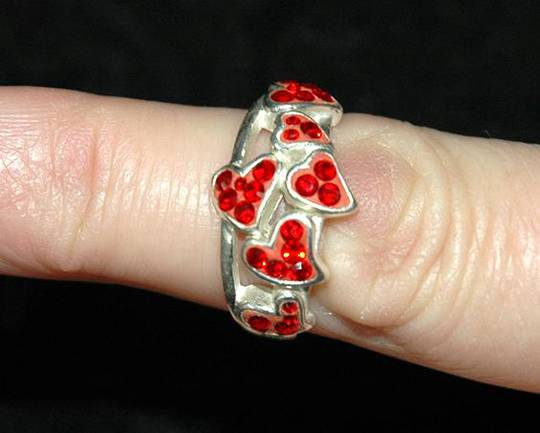 Many hearts red swaroski crystal ring